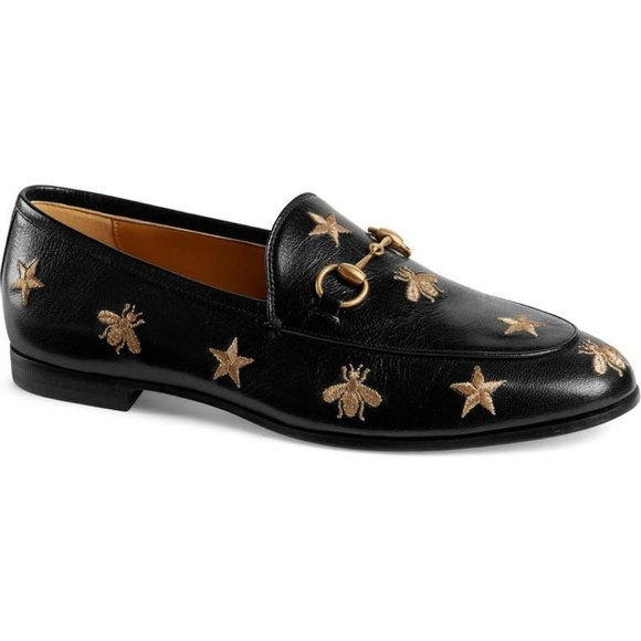 GUCCI Jordaan Leather Loafers With Embroidery